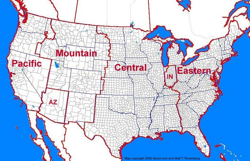 USA Time Zones Map Timebie Map Of Us Time Zones By City - Us map time zones